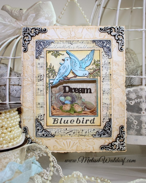 Melisa Blue Bird Buttons Shadow Box Decor